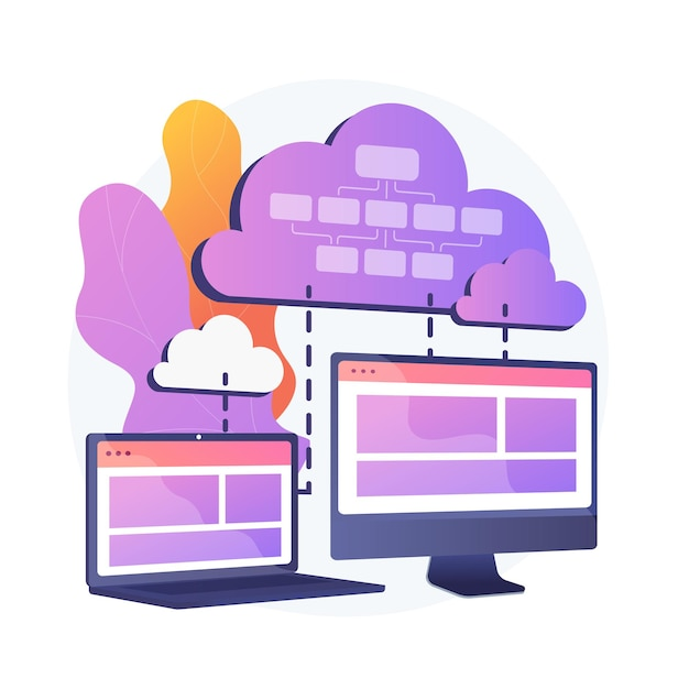 Cloud information storage. collocated cloud computing. data synchronization and harmonization. available, accesssible, digital. connected backup. vector isolated concept metaphor illustration Free Vector
