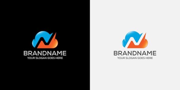 クラウドレターn抽象的なロゴ Premiumベクター