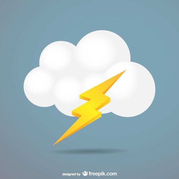 Nuvola fulmine vettore Vettore gratuito
