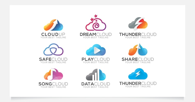 Cloud logo collection for company or agency Premium Vector