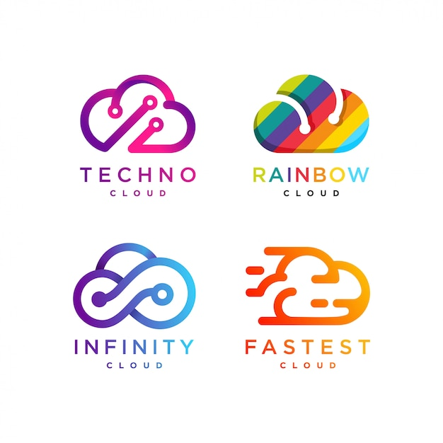 Cloud logo collection, tech cloud, rainbow cloud, infinity cloud, fast cloud, icon, modern, internet, computer, Premium Vector