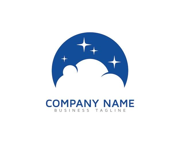 cloud logo with stars design vector premium download