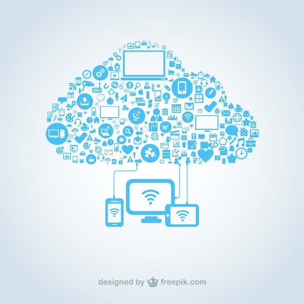 Cloud made of computing icons Premium Vector