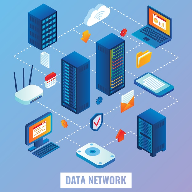 Cloud network flat isometric Premium Vector