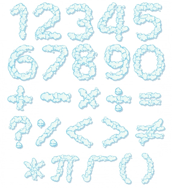 Cloud number font and math icon Free Vector