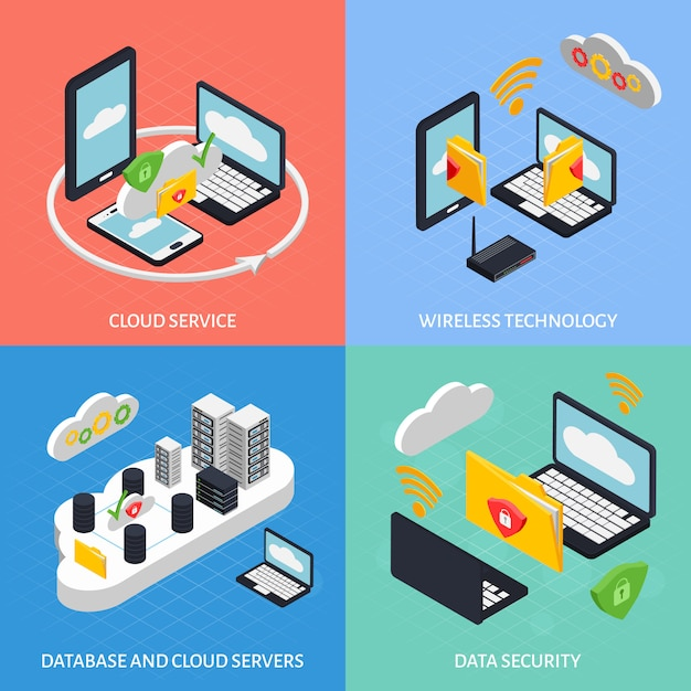Cloud office composition set Free Vector