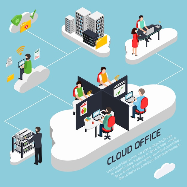 Cloud office isometric template Free Vector