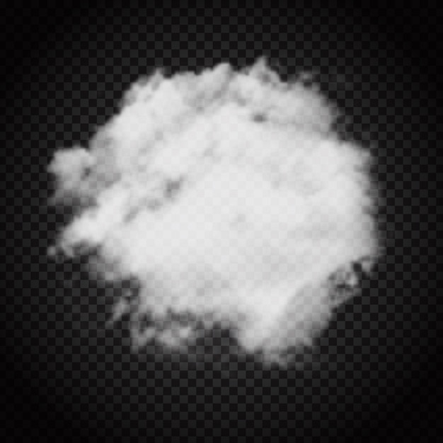 Cloud or smoke on a dark transparent background Free Vector