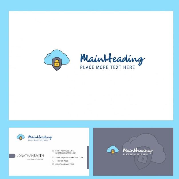 Облако защищенного логотипа с лозунгом и лицевой и задней карточкой busienss. Premium векторы