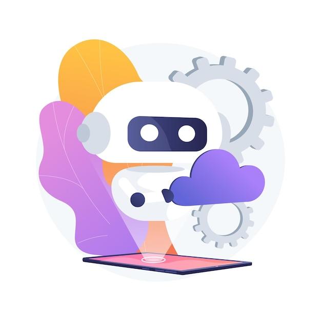 Иллюстрация абстрактной концепции облачной робототехники Бесплатные векторы