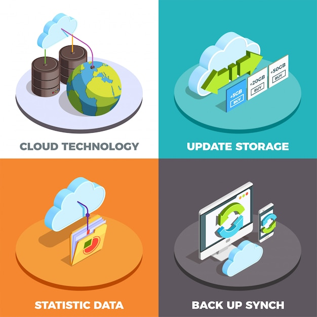 Cloud service concept isometric Free Vector