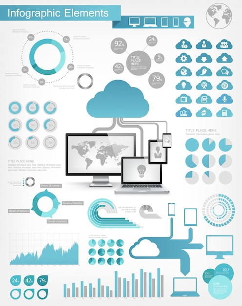 Cloud service infographic elements Premium Vector