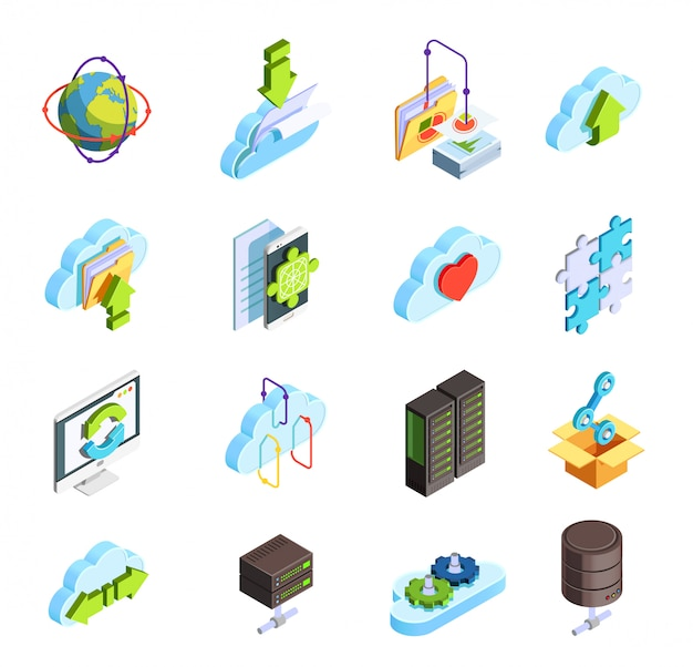 Cloud service isometric icons set Free Vector