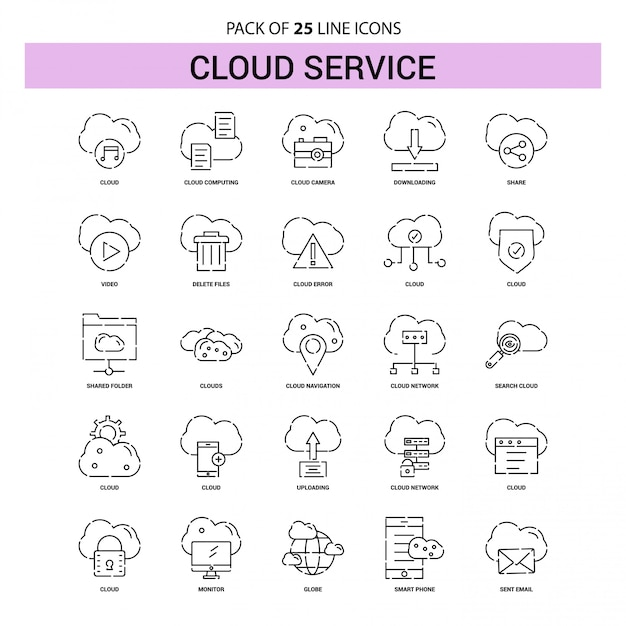 Cloud service line icon set - 25 dashed outline style Premium Vector