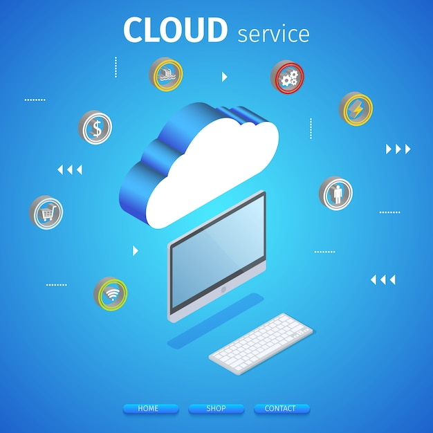 Cloud service square banner. computing technology. Premium Vector