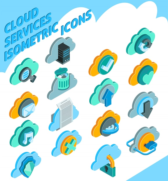 Cloud services icons set Free Vector