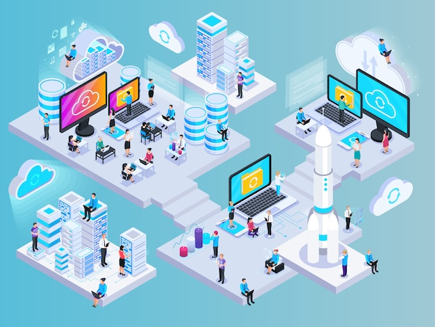 Cloud services isometric composition with conceptual images of network elements storage capsules and small human characters vector illustration Free Vector
