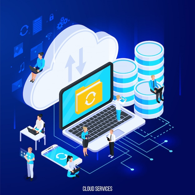Cloud services isometric composition with flat silhouette pictograms and big of cloud storage with people vector illustration Free Vector