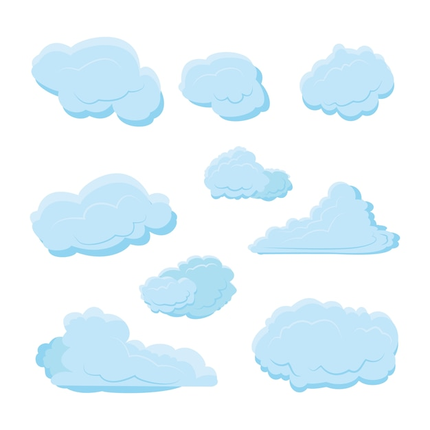 Cloud set collection with various shape and blue color with modern flat style Premium Vector