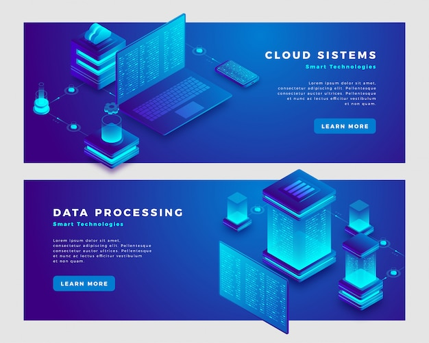 Cloud sistems and data processing concept banner template. Premium Vector