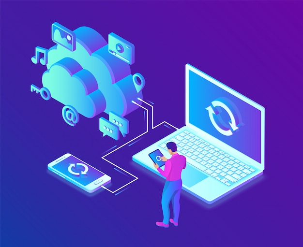 Cloud storage. cloud computing technology isometric  with laptop and smartphone icons. Premium Vector