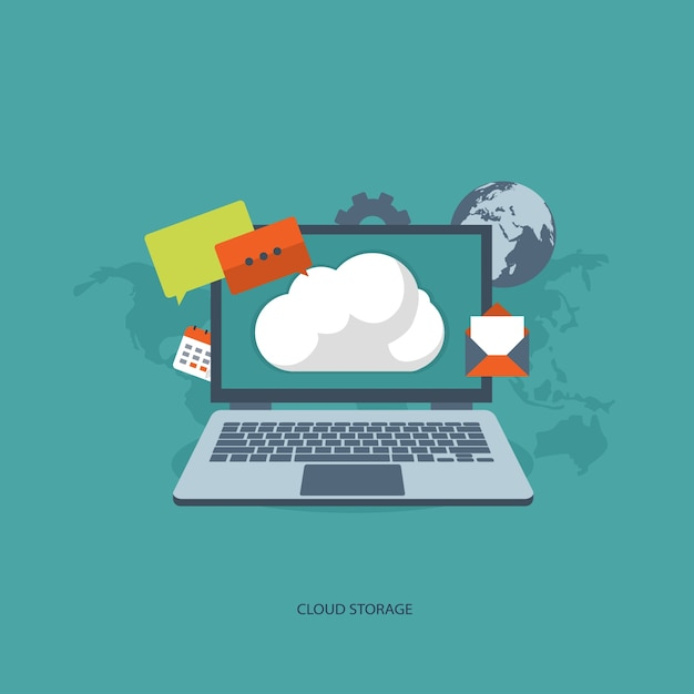 Cloud storage concept Free Vector