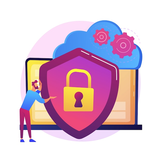 Cloud storage idea. online computing. internet database, backup server. programming equipment. limited access, control pass, privacy settings.  isolated concept metaphor illustration Free Vector