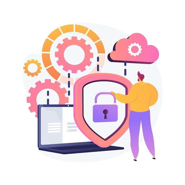 Cloud storage idea. online computing. internet database, backup server. programming equipment. limited access, control pass, privacy settings. vector isolated concept metaphor illustration Free Vector
