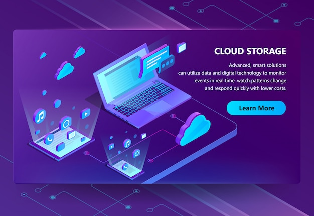Cloud storage isometric concept background Free Vector