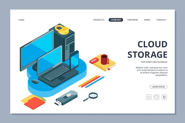 Cloud storage landing page. isometric storage of information and data web page template Premium Vector