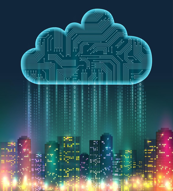 Cloud storage realistic composition with digital elements and bright lights on the city Free Vector