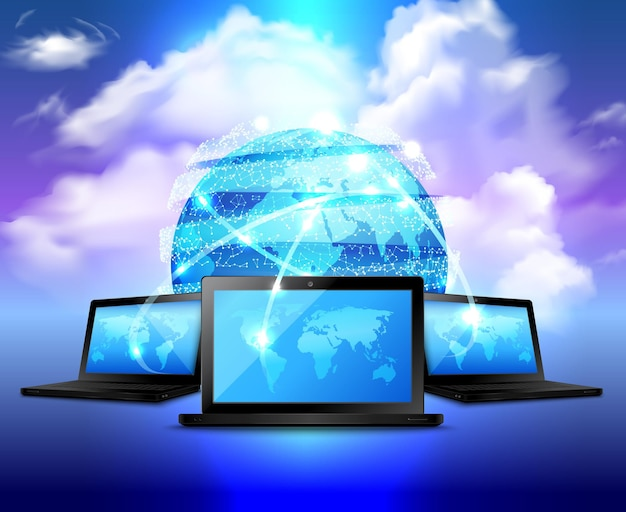 Cloud storage realistic concept with abstract digital globe and three laptop around Free Vector
