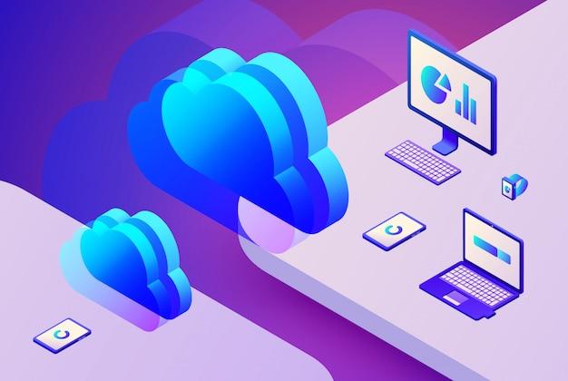 Cloud storage technology illustration of internet data transfer at digital processing server Free Vector