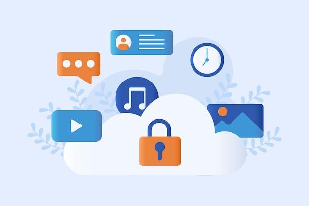 Cloud storage vector illustration Premium Vector