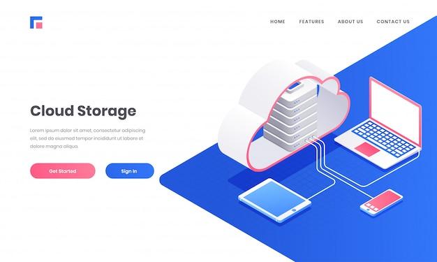Cloud storage webサイトまたはランディングページデザイン用のラップトップ、スマートフォン、タブレットに接続された3dクラウドサーバー。 Premiumベクター