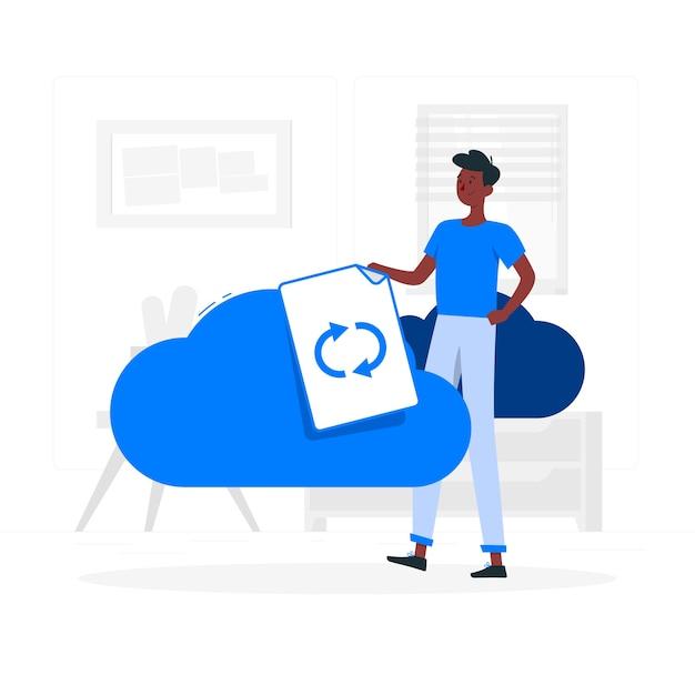 Cloud sync concept illustration Free Vector