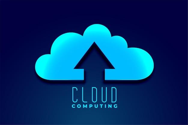 Cloud technology computing with upward upload arrow Free Vector
