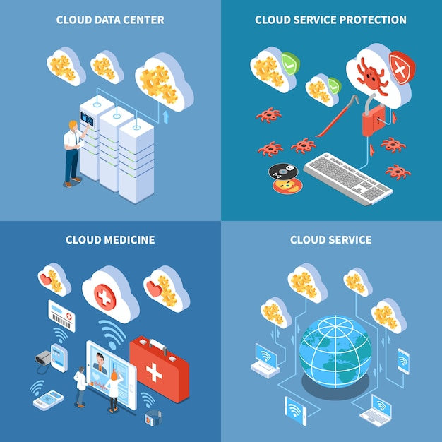 Cloud technology data center with security system storage of medicine information isometric concept isolated Free Vector