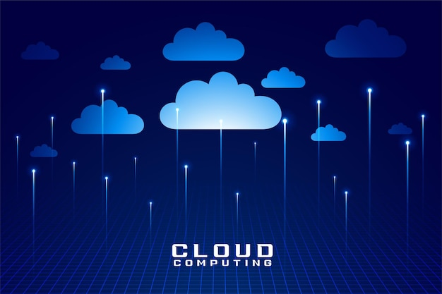 Cloud technology digital computing futuristic design Free Vector