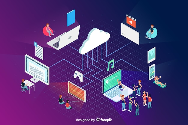 Cloud and technology elements in isometric style Free Vector