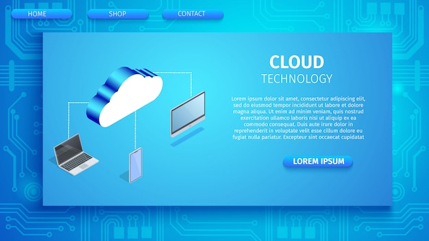 Cloud technology horizontal banner with space Premium Vector