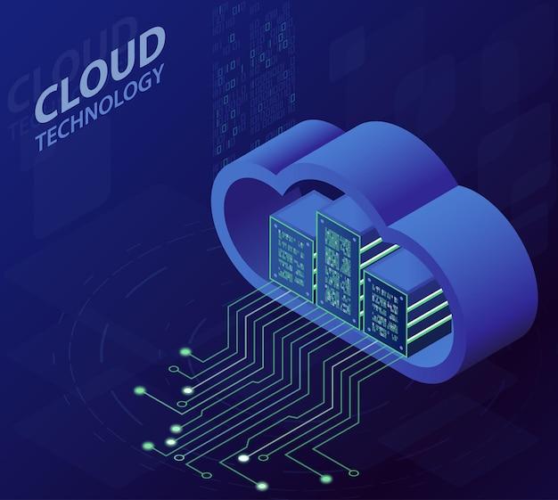 クラウドテクノロジーアイソメトリックコンセプト、最新のコンピューティングサービス。 Premiumベクター