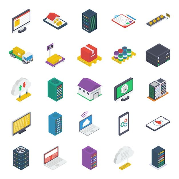 Cloud technology isometric icons pack Premium Vector