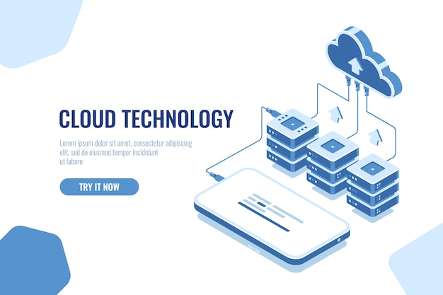 Cloud technology storage and transfer data isometric, mobile phone data downloading Free Vector