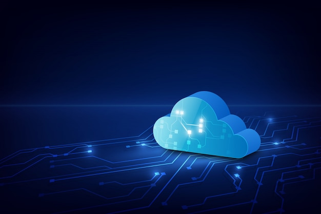 Cloud technology system sci fi background. Premium Vector