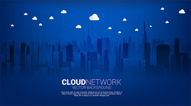 Cloud technology with city background. concept of cloud server, storage and data transformation. Premium Vector