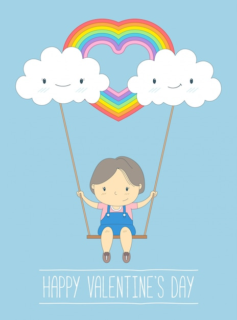 Cloud with love on valentines day background. Premium Vector