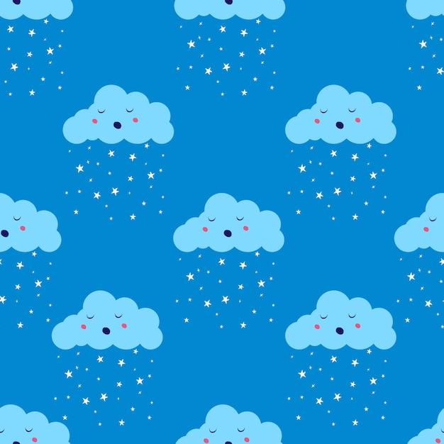스타 비 또는 눈 완벽 한 패턴으로 클라우드. 편평한 귀여운 공기 날씨 하늘 무한 파란색 배경. 프리미엄 벡터