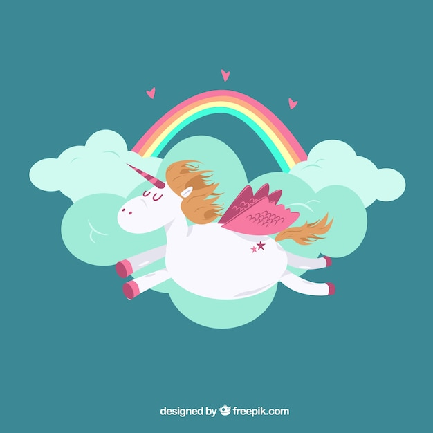 Clouds and rainbow background with unicorn flying