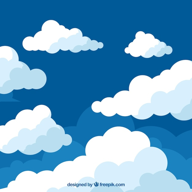 clouds background in flat design vector free download